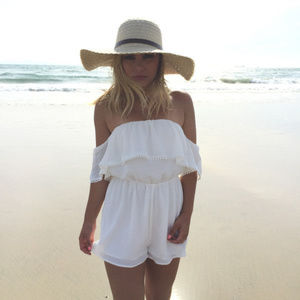 Dainty Hooligan Ivory Off the Shoulder Romper